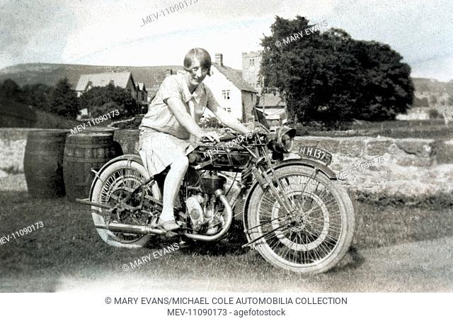 Lady on a 1921 Sunbeam 500cc Single motorcycle in the early 1920s