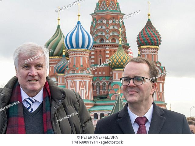 Horst Seehofer (CSU), the premier of the German state of Bavaria, with the chairman of the Bavarian SPD Markus Rinderspacher in front of the Saint Basil's...
