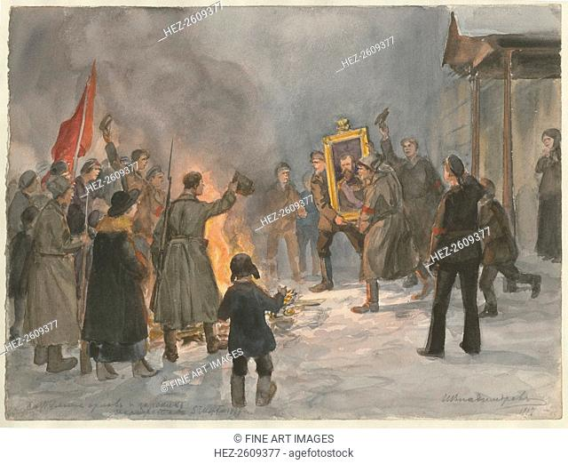 Soldiers burning paintings (from the series of watercolors Russian revolution), 1917. Artist: Vladimirov, Ivan Alexeyevich (1869-1947)