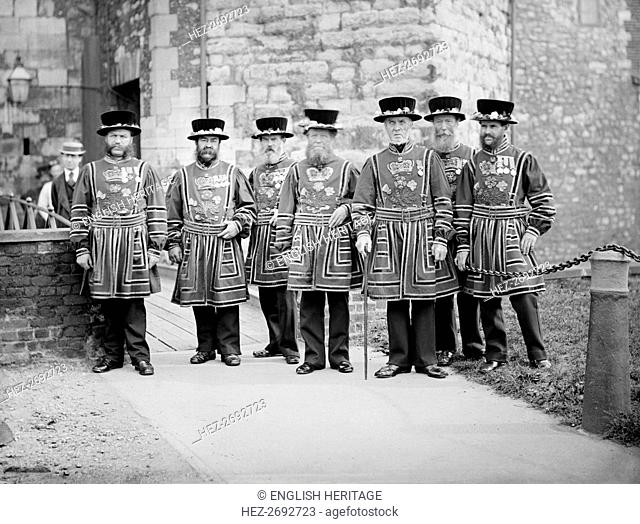 Yeomen Warders at the Tower of London, c1870-c1900. Artist: York & Son