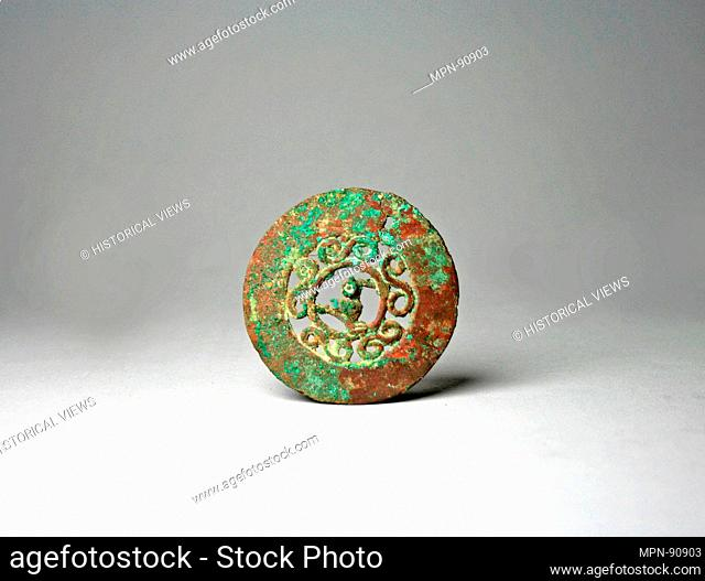 Copper Disk Ornament. Date: 12th-15th century; Geography: Peru; Culture: Chimú (?); Medium: Copper; Dimensions: Diameter 2-1/2 in. (6