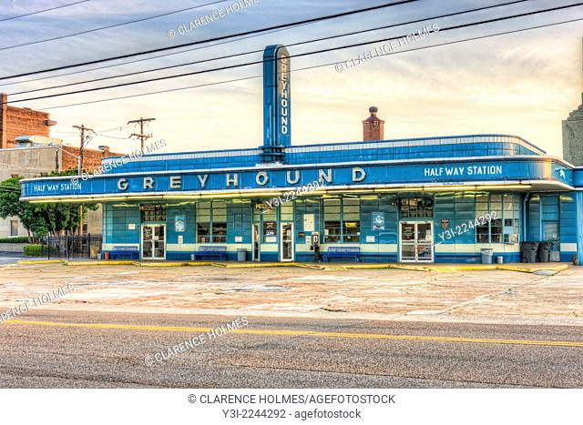 The historic Greyhound Bus Station in Jackson, Tennessee, built in 1938, is one of the oldest bus stations in the country still in active use