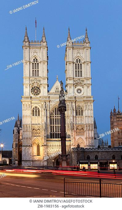 Westminster Abbey at night viewed from Victoria street,London,England