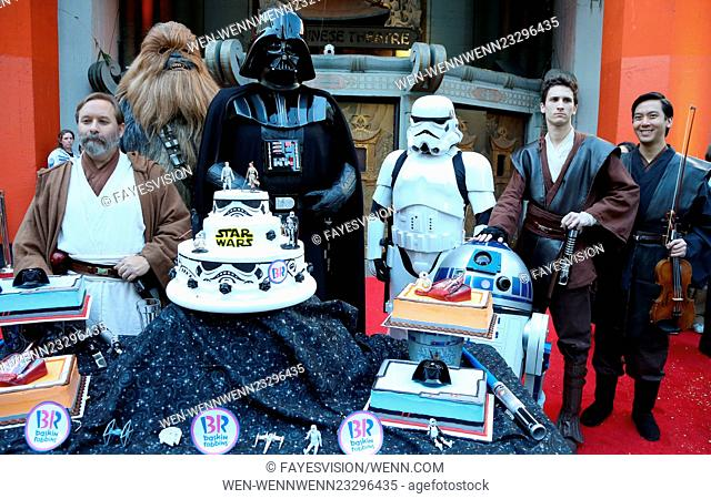 """Two """"""""Star Wars"""""""" Fans Get Married In The Forecourt Of The TCL Chinese Theatre Featuring: Chewbacca, Darth Vader, Stormtrooper, R2-D2 Where: Hollywood"""