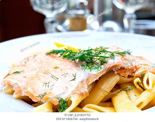 tasty pasta with salmon
