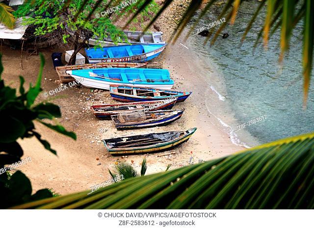 Fishing boats beached in a group on Jacmelès beach, Haiti