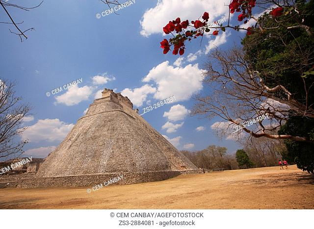 View to the Pyramid of the Magician in prehispanic Mayan city of Uxmal Archaeological Site, Yucatan Province, Mexico, North America