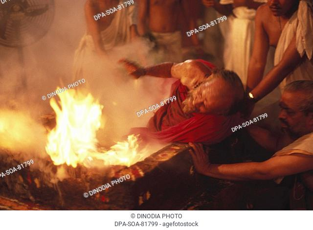 Superstition , fire bath of indian sadhu , india