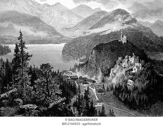 Hohenschwangau Castle and Neuschwanstein Castle as seen from the Jugend mountain ridge, Bavaria, Germany, historical wood engraving, 1886