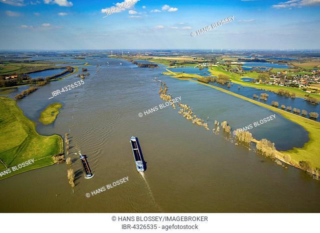 Aerial view of the flooded floodplains in Wesel and Xanten, Rhine floods, Wesel, Niederrhein, North Rhine-Westphalia, Germany