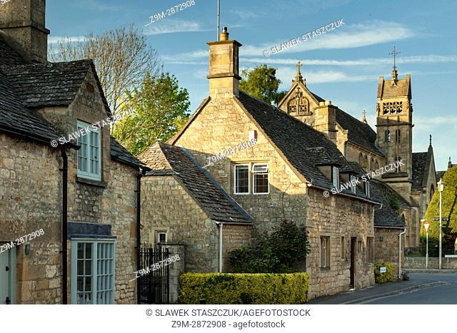 Spring evening at Chipping Campden, a small market town in the Cotswolds, Gloucestershire, England