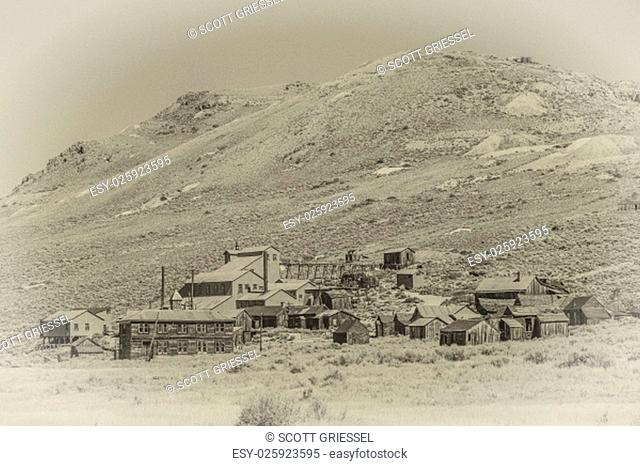 Period style photo of Bodie California with grain added to mimic film
