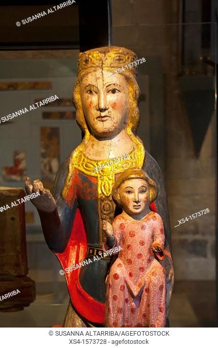 Wood Carvings. Romanesque Virgin. At present preserved in the Diocesan Museum of Solsona, Lleida, Catalonia, Spain, Europe