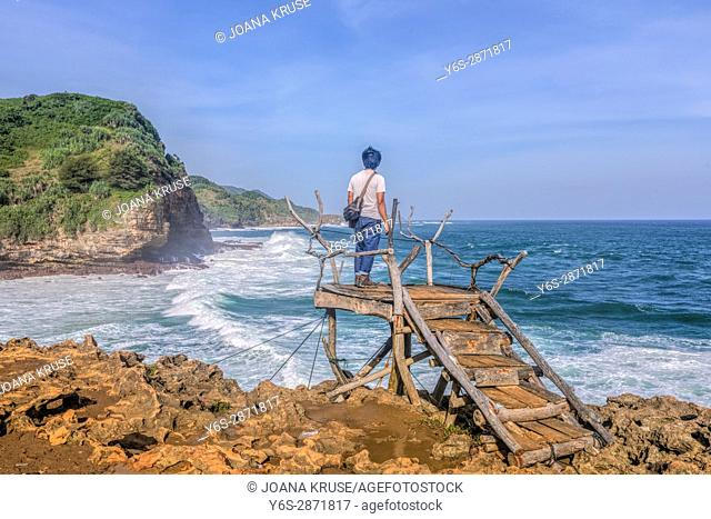view point at Timang beach, Yogyakarta, Java, Indonesia, Asia