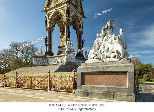 Sunny spring afternoon at Albert Memorial in Kensington Gardens, London, England