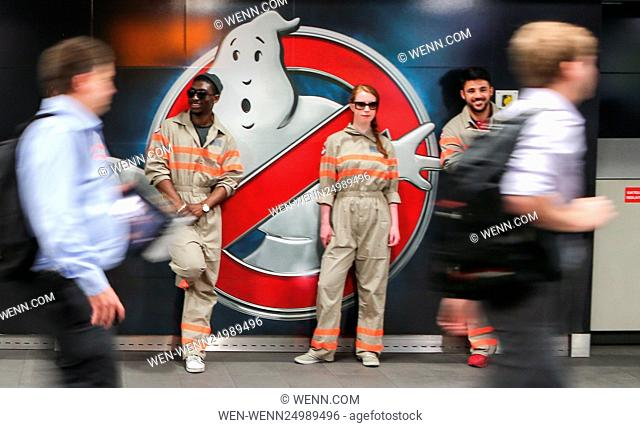 Stay Puft Marshmallow Man on the concourse of Waterloo Station during morning rush-hour for the opening of the new Ghostbusters movie Featuring: Atmosphere...