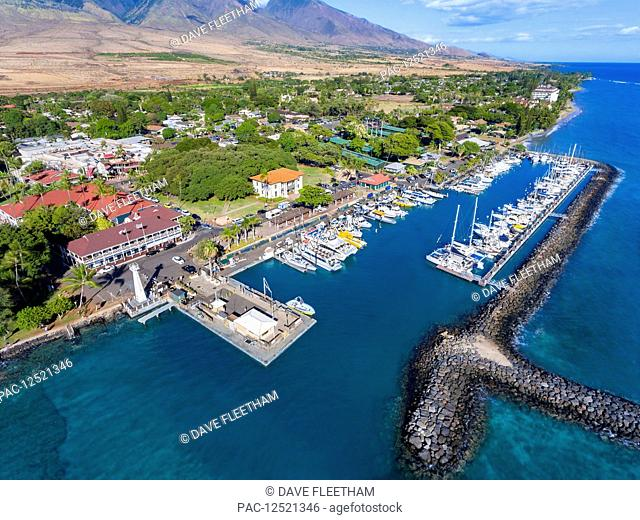 Aerial view of Lahaina harbour and town including the Pioneer Inn; Lahaina, Maui, Hawaii, United States of America