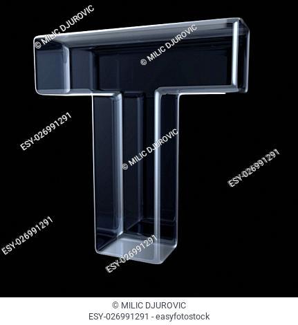 Transparent x-ray letter T. 3D render illustration on black background