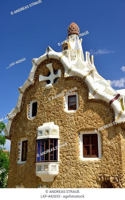 Casa del Guarda at the entrance to Park Guell, architect Antoni Gaudi, UNESCO World Heritage Site Park Guell, Catalan modernista architecture, Art Nouveau