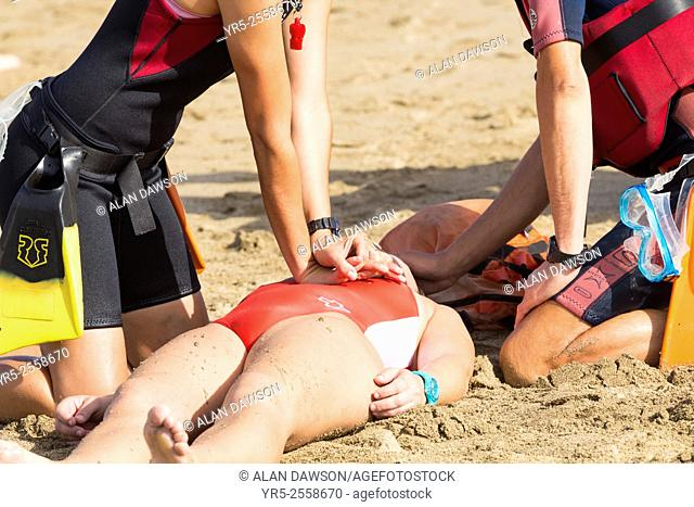 Lifeguards and rescue services simulation exercise on Las Canteras beach. Las Palmas, Gran Canaria, Canary Islands, Spain