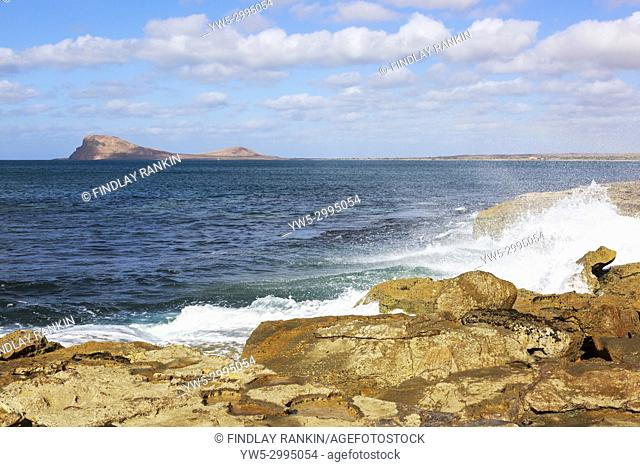 Coastline at Baia da Murdeira with Lion Mountain on the horizon, Murdeira, Sal Island, Salinas, Cape Verde, Africa
