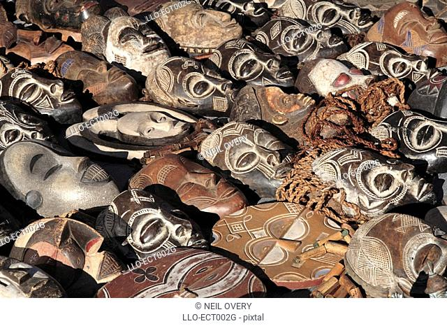 Variety of Carved,Wooden African Masks - Full Frame  Grahamstown, Eastern Cape Province, South Africa