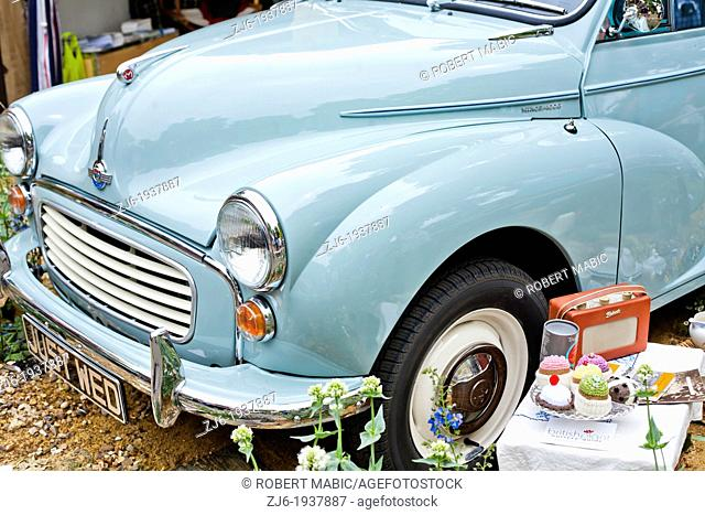 Vintage car and set for picnic, Chelsea London England