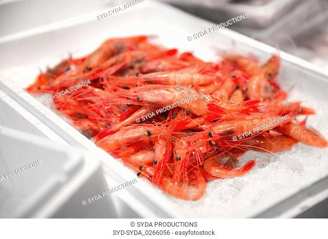 fresh shrimps or seafood on ice at street market