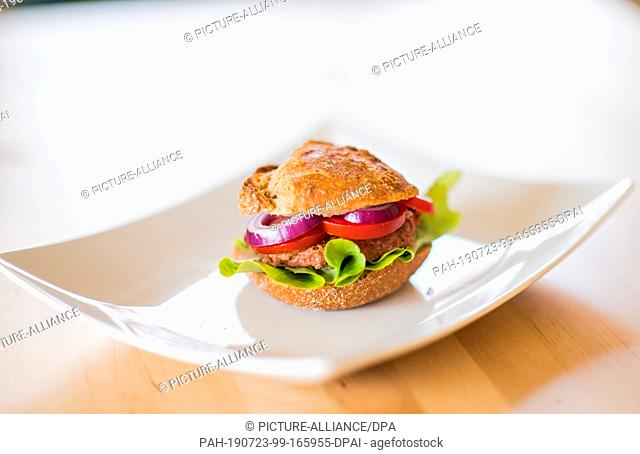 22 July 2019, Hessen, Frankfurt/Main: A vegan burger is on a plate. More and more meat replacement products are coming onto the German market