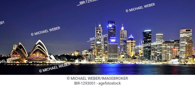 Panorama of Sydney Cove, Sydney Opera House, Circular Quay, port, Sydney skyline, Central Business District, night, Sydney, New South Wales, Australia