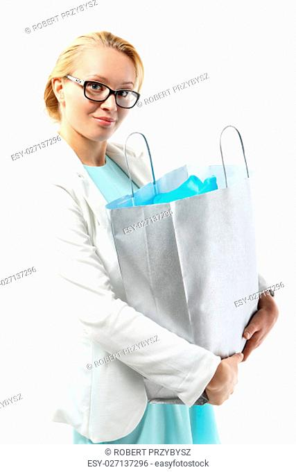 attractive blonde in the official costume includes a bag purchasing