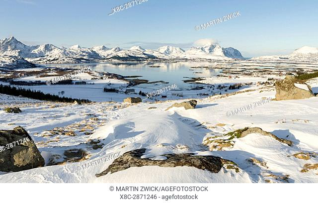 View over Ramsvikbukta and Buksnesfjorden near Leknes, island Vestvagoy. The Lofoten islands in northern Norway during winter