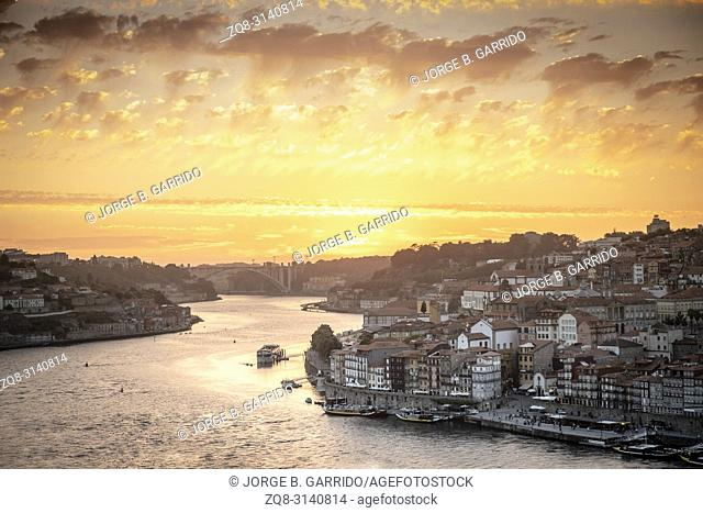 View of Porto at sunset from Garden of Morro, Porto, Portugal