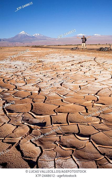 Dry cracked ground and salt, Valle de la Luna (Valley of the Moon ) near San Pedro de Atacama, Atacama desert. Region de Antofagasta. Chile