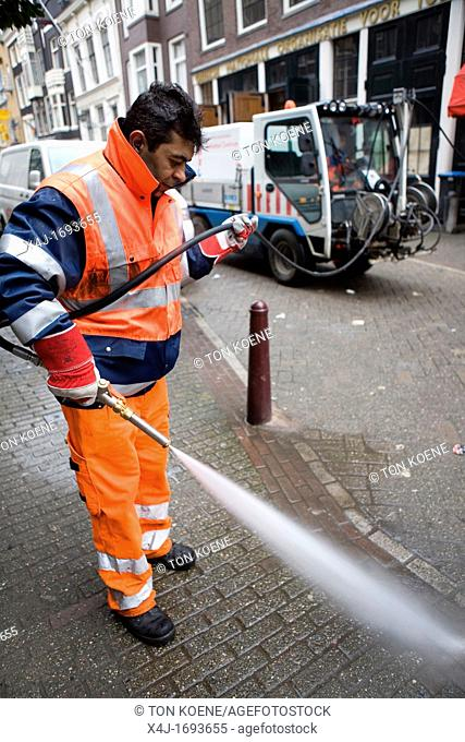 Street cleaners at work in Amsterdam