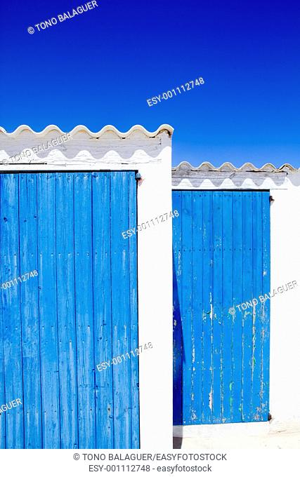 architecture balearic islands white blue doors detail Balearic islands