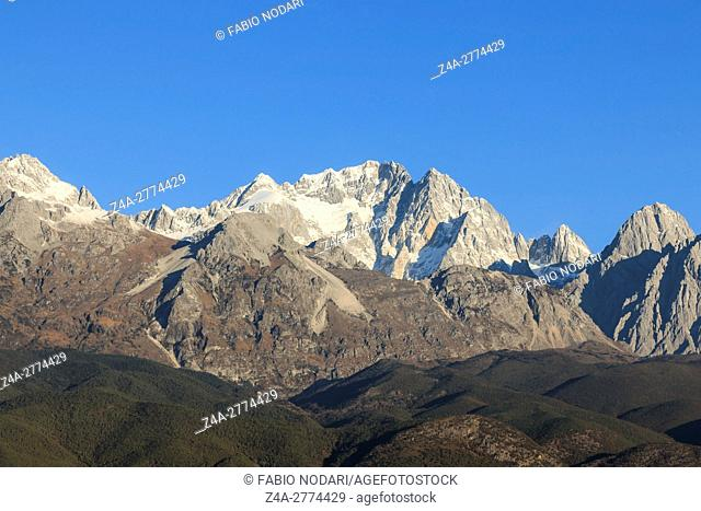 Close view of the Jade Dragon Snow Mountain in Yunnan, China