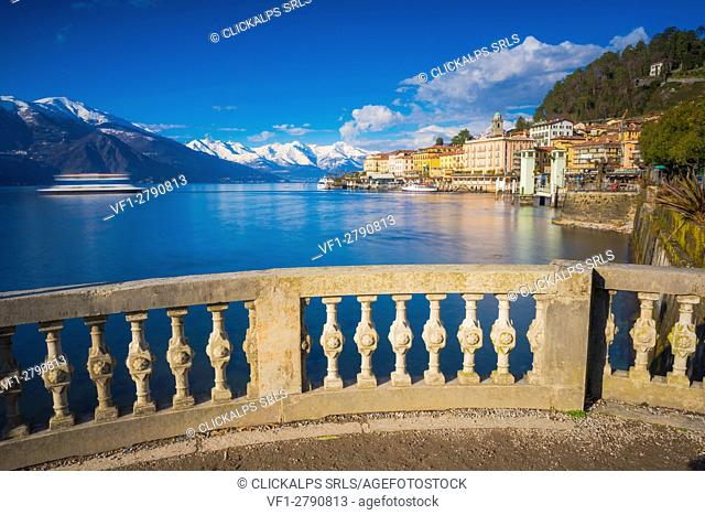 Bellagio, Como, Lombardy, Italy. View of the village from the waterfront in winter