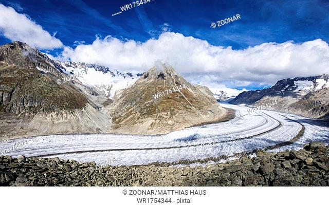 Aletsch Glacier blue sky and clouds