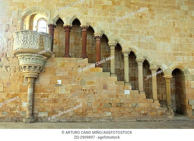 The Cistercian Monastery, XIIth-XVIth centuries. The Romanesque and Gothic Refectory, XIIth century. Santa Maria de Huerta, Soria province, Spain, Castile-Leon