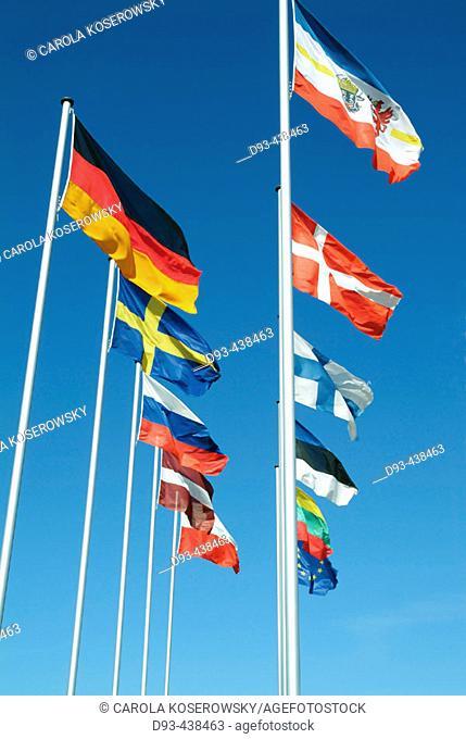 Flags, Warnemünde, Mecklenburg Western Pomerania, Germany