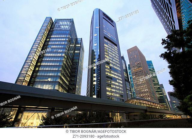 Japan, Tokyo, Shiodome, skyscrapers, modern architecture,