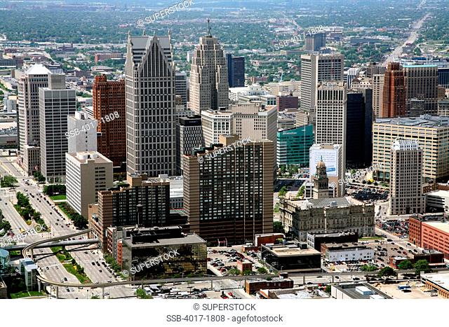 Downtown Skyline Aerial of Detroit, Michigan near the Riverfront