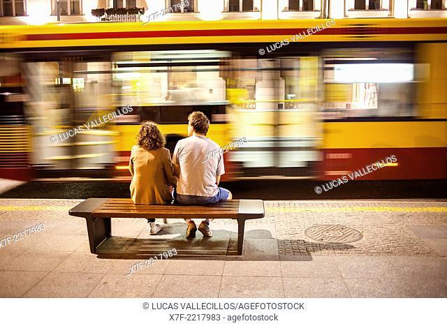 Street scene, in Nowy Swiat street, Warsaw, Poland