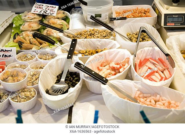 Seafood on market stall for sale