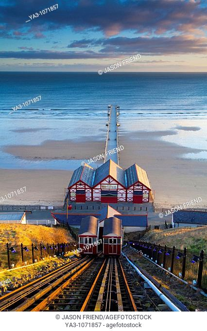England, Cleveland, Saltburn-by-the-Sea  View from the top of the funicular railway, one of the world's oldest water-powered cliff lifts