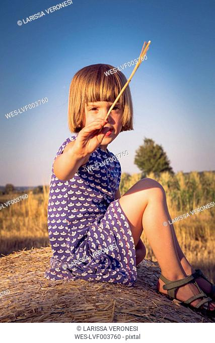Portrait of little girl sitting on straw bale