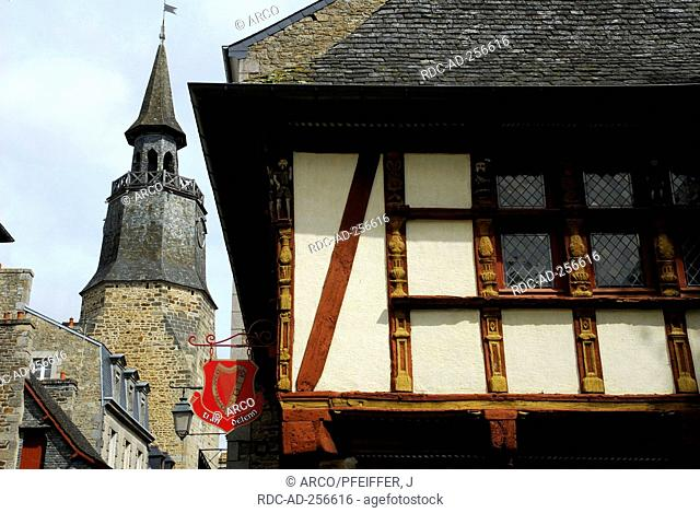 Clock tower and timber-framed house Dinan Cotes d'Armor Brittany France Tour de L'Horloge