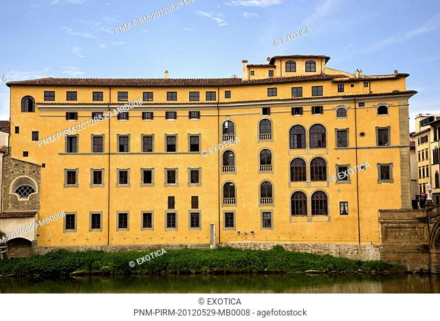 Building at the waterfront, Arno River, Florence, Tuscany, Italy