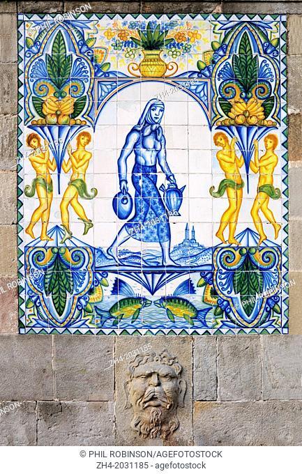 Barcelona, Spain. Tile designs on drinking fountain in Carrer del Cucurella.1015